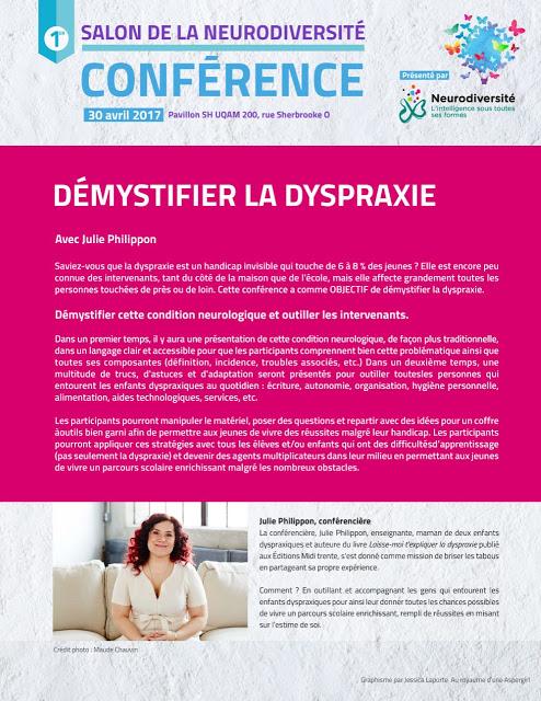 """Conférence """"démystifier la dyspraxie"""" au Salon de la neurodiversité"""
