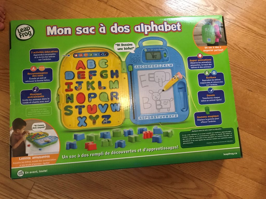 Le Sac à dos alphabet était le favori de mon grand de 6 ans
