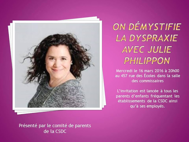 Démystifier la dyspraxie! #conférence Julie Philippon