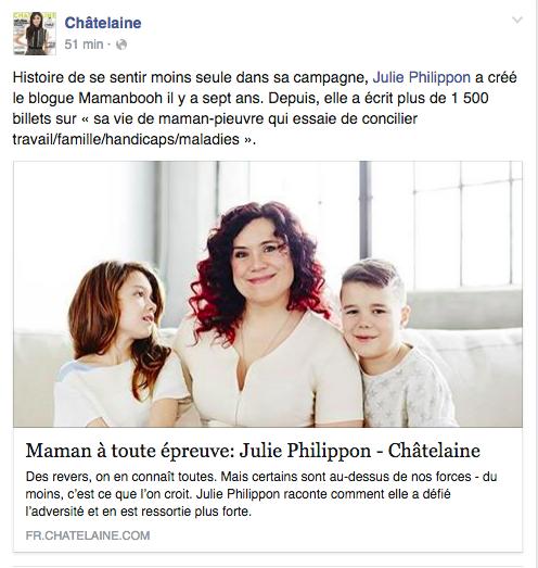 Châtelaine: Maman à toute épreuve: Julie Philippon