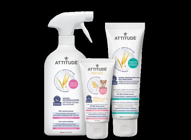 Solution pour peau sensible, une nouvelle gamme de produits d'ATTITUDE parfaite pour toute la famille