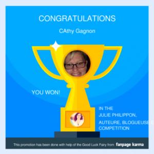 La gagnante du concours est...Mme Cathy Gagnon!