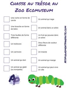 Chasse aux trésors au zoo!