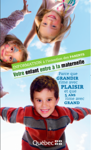 Information à l'intention des parents - Votre enfant entre à la maternelle