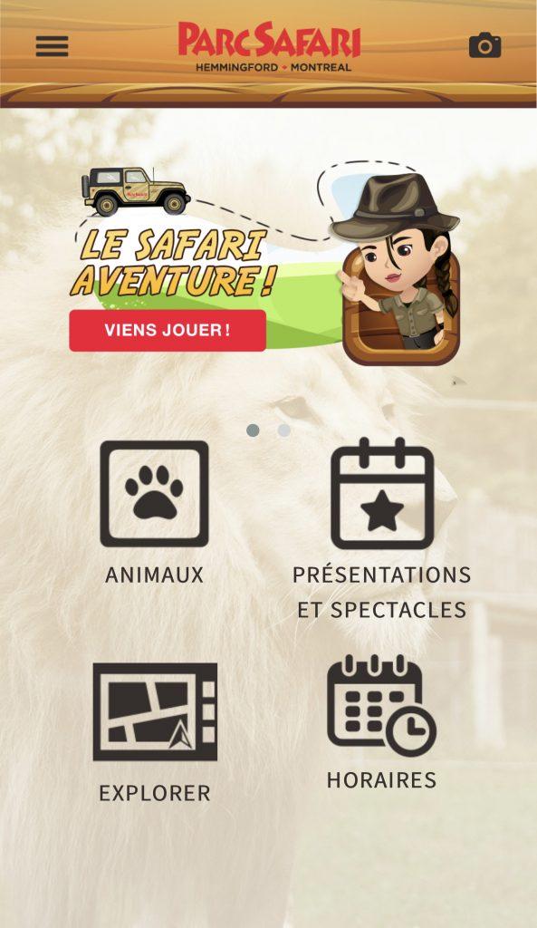 Nouvelle Application pour naviguer dans le Parc Safari en en apprenant plus sur les animaux