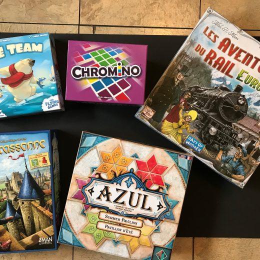 Jeux de société pour connecter avec les enfants. Magnifique collection reçue de chez Asmodee.